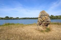 Terrain de 2000 m2 constituant le gisement préhistorique dit de la Pierre-aux-Fées - Français:   Le menhir de la Pierre aux Fées est un vestige de la vie à l'époque préhistorique le long de la vallée du Loing. Ce menhir  (pierre dressée verticalement), en chaille, et plus particulièrement de silex, est daté d'environ 3500 ans avant notre ère (Néolithique final).  La légende dit  «cette pierre a été amenée par des fées utilisant leur robe en guise de tablier pour la transporter».  Hauteur hors sol: 230 cm, largeur: 200 cm et épaisseur: 80 cm  (source: mairie de Cepoy)