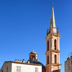 Eglise Sainte-Marie -  Calvi, Balagne (Corse) - Clocher et clocheton du dôme de l'église Sainte-Marie Majeure