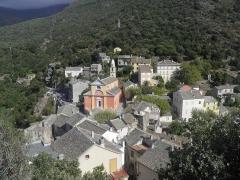Eglise Sainte-Julie - Français:   Village depuis la tour de Nonza (Haute-Corse, France).