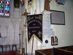 Eglise - English: Banner from 1877 of the Confrérie de Charité Saint Fiacre in Menneval (Eure, France).