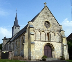 Ancienne abbaye Notre-Dame - English: Entrance of the abbeychurch Notre-Dame in Corneville-sur-Risle, departement Eure, Haute-Normandie, France. It was built in the 12th century.
