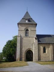 Eglise Saint-Barthélémy - Français:   Clocher-porche de l\'église Saint-Barthélémy de Liginiac (Corrèze, France)