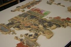 Vestiges archéologiques gallo-romains du lieudit Bois-l'Abbé - Français:   Reconstitution de peintures murales suite aux fouilles sur le site di Bois l\'Abbée EU