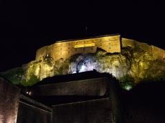 Château, actuellement musée d'Art et d'Histoire, et enceinte urbaine - Château de Belfort (France), avec au-devant le Lion de Bartholdi
