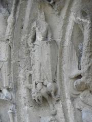 Restes de l'ancienne église Notre-Dame-de-la-Couldre - Façade de l'église Notre-Dame-de-la-Couldre à Parthenay (79). Portail. Détail de la 3ème voussure.