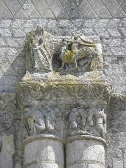 Ancienne abbaye Saint-Jouin - Façade occidentale de l'abbatiale Saint-Jouin de Saint-Jouin-de-Marnes (79). 2d étage. Détail.