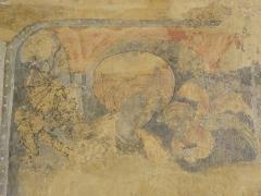 Eglise Saint-Laon - Intérieur de l'abbatiale Saint-Laon de Thouars (79). Peinture murale. Sainte-Marguerite-d'Antioche.