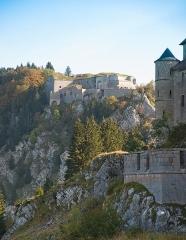 Château de Joux - Français:   Le fort du Larmont en arrière plan et le château de Joux sur la droite de la photo, au premier plan.