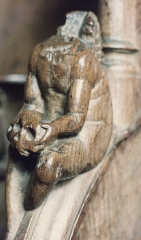 Ancienne abbaye - English: Abbaye de Montbenoît, choir stall (detail). Photo taken in 1979
