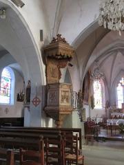 Eglise paroissiale Saint-Aignan - Français:   Chaire de l'église Saint-Aignan de Ruffey-sur-Seille (Jura).
