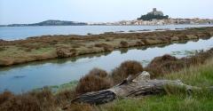 Ruines du château-fort - tour barberousse de gruissan et canal