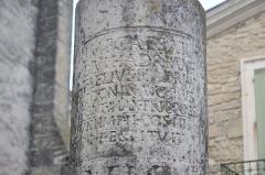 Borne milliaire d'Antonin-le-Pieux - Français:   texte de la Borne milliaire d\'Antonin-le-Pieux, situé sur la place de la mairie de Manduel