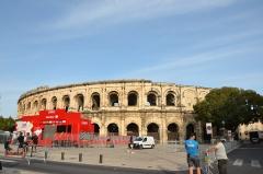 Amphithéatre ou Arènes - préparatif aux arènes de Nîmes du Tour d'Espagne à Nîmes