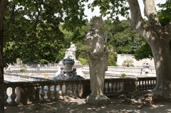 Jardin de la Fontaine - English:  A satyr, probably Dionysos young more concerned by nymphs than bacchanalias.