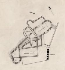 Château - Français:   Laroque (Hérault) - Plan du château et de la chapelle Saint-Jean