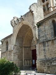 Eglise Saint-André - English: Montagnac. Church of Saint-Andrew (Saint-André). Main portal.
