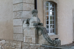 Château d'O -  Sphinx, to the right of the entrance of carriages.