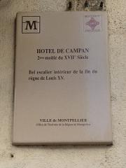 Hôtel de Campan - Català: Placa identificadora de l'Hôtel de Campan (Montpeller)