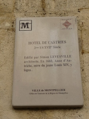 Ancien Hôtel de Castries - Català: Placa identificadora de l'Hôtel de Castries (Montpeller)