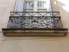 Hôtel de Fizes - Català: Barana de la finestra central a la façana exterior de l'Hôtel de Fizes (Montpeller)