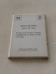 Hôtel de Fizes - Català: Placa identificadora de l'Hôtel de Fizes (Montpeller)