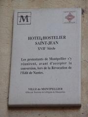 Hôtel d'Hostalier - Català: Placa identificadora de l'Hôtel d'Hostalier (Montpeller)