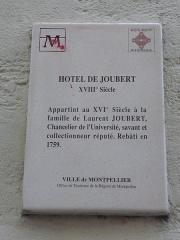Hôtel de Joubert - Català:   Placa identificadora de l\'Hôtel de Joubert (Montpeller)