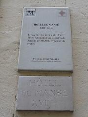 Hôtel de Manse - Català: Plaques identificadores de l'Hôtel de Manse (Montpeller)