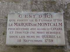 Hôtel de Montcalm - Català: Placa commemorativa de l'Hôtel de Montcalm (Montpeller)