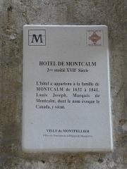 Hôtel de Montcalm - Català: Placa identificadora de l'Hôtel de Montcalm (Montpeller)