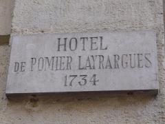 Hôtel Pomier-Layrargues - Català: Placa identificadora de l'Hôtel Pomier-Layrargues (Montpeller)