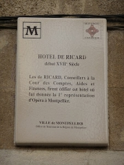 Hôtel de Ricard - Català: Placa identificadora de l'Hôtel de Ricard (Montpeller)