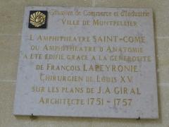Hôtel de Saint-Côme - Català: Placa commemorativa de l'Hôtel de Saint-Côme (Montpeller)