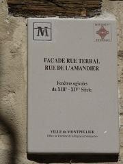 Immeuble - Català: Placa identificadora de l'edifici a la rue Terral cantonada amb la rue des Amandiers (Montpeller)