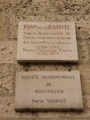 Ancien observatoire dit Tour de la Babotte - Català: Plaques commemoratives a la Torre de la Babòta (Montpeller)