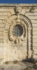 Ensemble de la promenade du Peyrou - Une partie du mur de soutènement de la Place royale du Peyrou dans sa partie sud-ouest. Montpellier, Hérault, France.