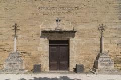 Eglise Saint-Saturnin - English: Portal of Saint Saturnin Church of Tourbes, Hérault, France
