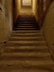 Ensemble historique et archéologique de la cité épiscopale et canoniale de Maguelone - Escalier d'accès au chœur canonial de la cathédrale Saint-Pierre-et-Saint-Paul de Maguelone (34).