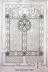 Temple - English:  Drawing of the ornamental tiling of Le Collet-de-Dèze.