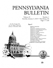 Immeuble - English: Vol. 45, No. 1 (3 January 2015) of the Pennsylvania Bulletin.