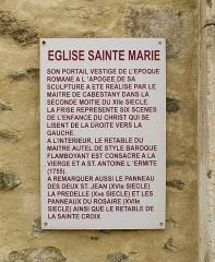 Eglise Sainte-Marie - English: Info plate of Parish Church Sainte-Marie, Le Boulou, France