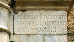 Eglise Saint-Pierre - English: Portal inscription, Église Saint-Pierre, Céret, France.  Dated 1398, text: