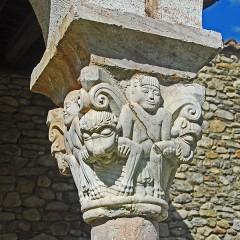 Ancienne abbaye de Saint-Michel de Cuxa ou Cuixà - Deutsch: Abbaye Michel-de-Cuxa, Kapitell, Löwen, Tiere fressend, Mensch hält deren Arme