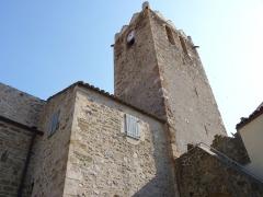 Eglise paroissiale Saint-Jean l'Evangéliste - English: Le clocher de l'église Saint-Jean, Oms (Pyrénées-Orientales, Languedoc-Roussillon, France)