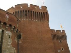 Castillet, Grand-Castillet, porte Notre-Dame ou Petit-Castillet - Català: El Castellet de Perpinyà, vist des de la plaça de la Victòria, detall