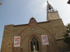 Cathédrale Saint-Jean-Baptiste - Català: Catedral de Perpinyà, detall de la façana, amb cartells commemoratius del certamen de fotoperiodisme Visa pour l'Image