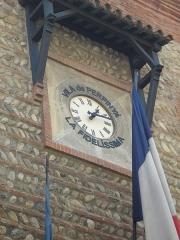 Hôtel de ville - Català: Rellotge de la casa de la vila de Perpinyà, amb la inscripció