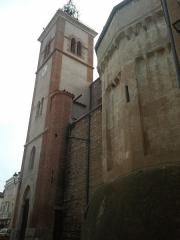 Eglise Saint-André - Français:   Clocher de l\'église de Saint-Féliu-d\'Avall