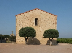 Chapelle Saint-Julien - Deutsch: Kapelle Saint-Julien-et-Sainte-Basilisse, 13. Jh., Villeneuve-de-la-Raho, Frankreich (Ansicht von WSW)