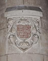 Eglise Saint-André - Français:   Inscription (1600) sur un pilier intérieur de l\'église Saint-André, Angoulême, Charente, France.